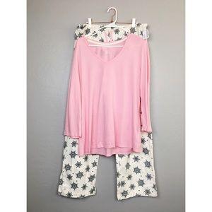 New Nautical Pajama Set Pink Snowflakes Size XL